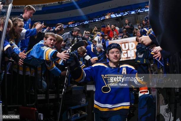 Vladimir Tarasenko of the St Louis Blues acknowledges fans as he takes the ice for warmups prior to a game against the Ottawa Senators at Scottrade...