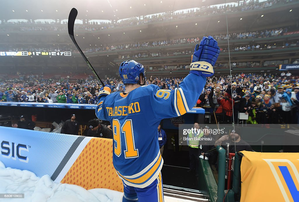 Vladimir Tarasenko #91 of the St. Louis Blues acknowledges the fans after the 2017 Bridgestone NHL Winter Classic at Busch Stadium on January 2, 2017 in St Louis, Missouri. The Blues defeated the Blackhawks 4-1.