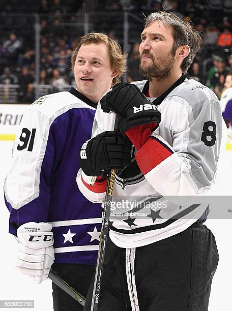 Vladimir Tarasenko of the St Louis Blues and Alex Ovechkin of the Washington Capitals look on during warmup prior to the 2017 Honda NHL AllStar Game...