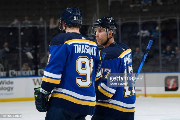 Vladimir Tarasenko of the St. Louis Blues and Jaden Schwartz of the St. Louis Blues during a game against the Colorado Avalanche on April 14, 2021 at...