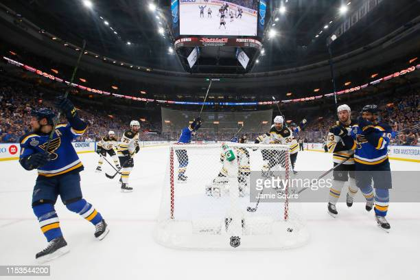 Vladimir Tarasenko of the St Louis Blues celebrates a first period goal past Tuukka Rask of the Boston Bruins at 1530 in Game Four of the 2019 NHL...