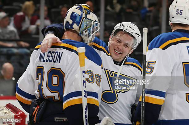 Vladimir Tarasenko of the St Louis Blues celebrates a win against the Colorado Avalanche with Goaltender Anders Nilsson at the Pepsi Center on April...