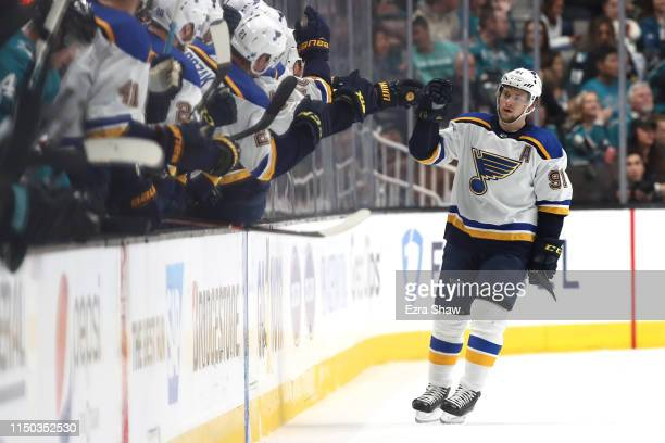 Vladimir Tarasenko of the St Louis Blues celebrates after a goal against the San Jose Sharks in the second period of Game Five of the Western...