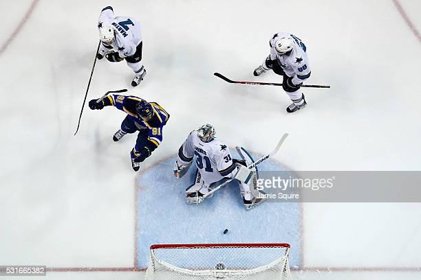 Vladimir Tarasenko of the St Louis Blues celebrates after Jori Lehtera scored a goal against Martin Jones of the San Jose Sharks during the second...