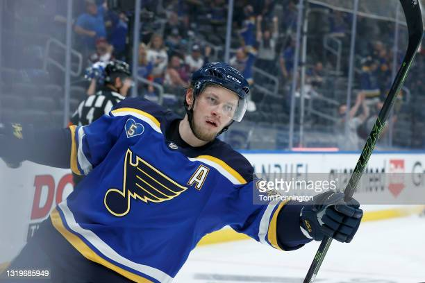 Vladimir Tarasenko of the St. Louis Blues celebrates after scoring a goal against Philipp Grubauer of the Colorado Avalanche in the second period at...