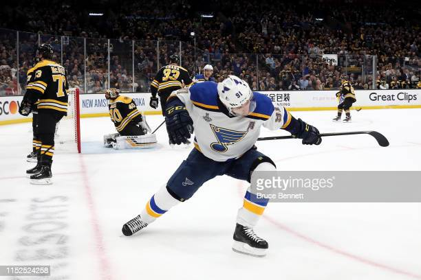 Vladimir Tarasenko of the St Louis Blues celebrates his first period goal against the Boston Bruins in Game Two of the 2019 NHL Stanley Cup Final at...