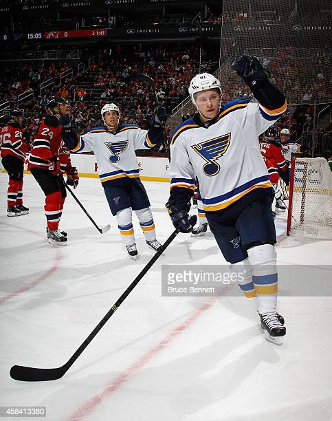 Vladimir Tarasenko of the St Louis Blues celebrates his game winning powerplay goal at 455 of the third period against the New Jersey Devils at the...