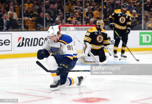 Vladimir Tarasenko of the St Louis Blues celebrates his second period goal past Tuukka Rask of the Boston Bruins in Game One of the 2019 NHL Stanley...