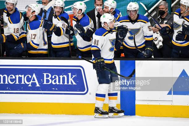 Vladimir Tarasenko of the St. Louis Blues celebrates scoring a shootout goal against the San Jose Sharks at SAP Center on March 19, 2021 in San Jose,...