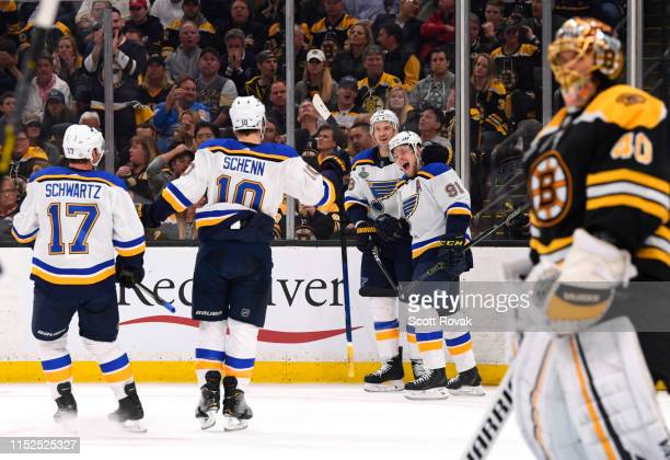 Vladimir Tarasenko of the St Louis Blues celebrates with teammates after scoring against the Boston Bruins in the first period of Game Two of the...