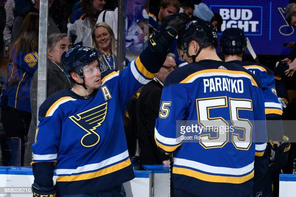 Vladimir Tarasenko of the St Louis Blues congratulates Colton Parayko of the St Louis Blues after the game against the Dallas Stars at Scottrade...