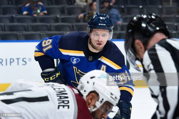 Vladimir Tarasenko of the St. Louis Blues during a game against the Colorado Avalanche on April 22, 2021 at the Enterprise Center in St. Louis,...
