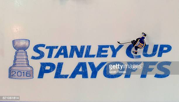 Vladimir Tarasenko of the St Louis Blues handles the puck against the Chicago Blackhawks in Game One of the Western Conference Quarterfinals during...