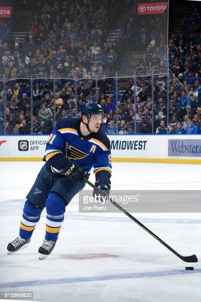 Vladimir Tarasenko of the St Louis Blues handles the puck against the Colorado Avalanche at Scottrade Center on February 8 2018 in St Louis Missouri