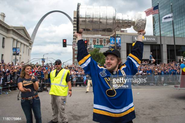 Vladimir Tarasenko of the St Louis Blues hoists the Stanley Cup during the St Louis Blues Victory Parade and Rally after winning the 2019 Stanley Cup...