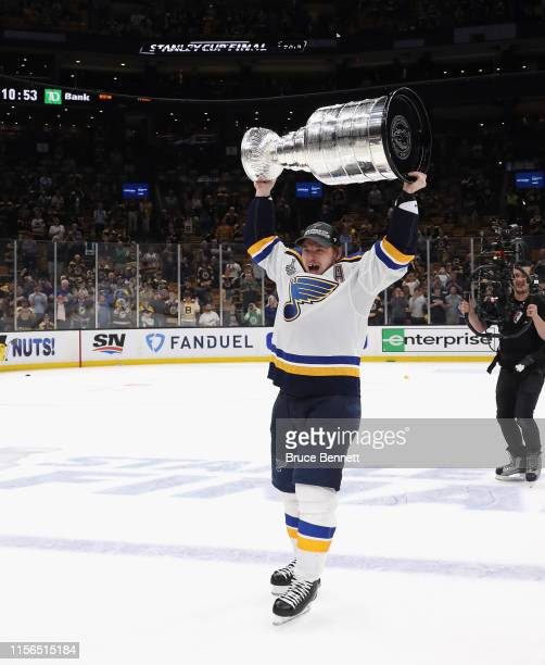 Vladimir Tarasenko of the St. Louis Blues holds the Stanley Cup following the Blues victory over the Boston Bruins at TD Garden on June 12, 2019 in...