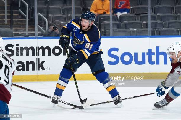 Vladimir Tarasenko of the St. Louis Blues in action against the Colorado Avalanche on April 22, 2021 at the Enterprise Center in St. Louis, Missouri.