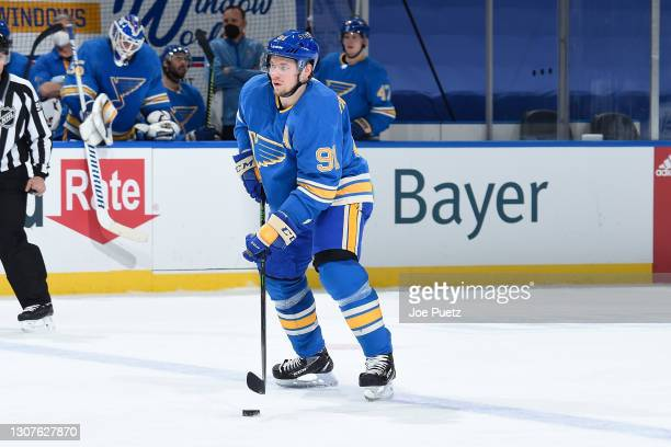 Vladimir Tarasenko of the St. Louis Blues in action against the Vegas Golden Knights on March 13, 2021 at the Enterprise Center in St. Louis,...