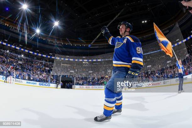 Vladimir Tarasenko of the St Louis Blues is acknowledges the fans after scoring a gamewinning goal in overtime against the San Jose Sharks at...
