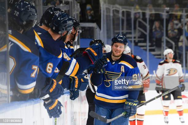Vladimir Tarasenko of the St. Louis Blues is congratulated after scoring a goal against the Anaheim Ducks on March 28, 2021 at the Enterprise Center...