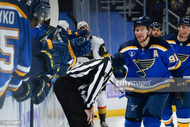 Vladimir Tarasenko of the St. Louis Blues is congratulated after scoring a goal against the Vegas Golden Knights on April 7, 2021 at the Enterprise...