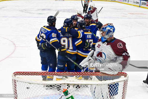Vladimir Tarasenko of the St. Louis Blues is congratulated after scoring a goal against Jonas Johansson of the Colorado Avalanche on April 26, 2021...