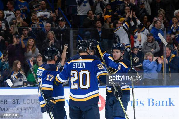 Vladimir Tarasenko of the St Louis Blues is congratulated after scoring a goal against the San Jose Sharks at Scottrade Center on March 27 2018 in St...