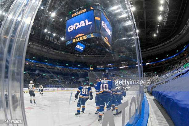 Vladimir Tarasenko of the St. Louis Blues is congratulated by teammates after scoring a goal against the Vegas Golden Knights on April 7, 2021 at the...