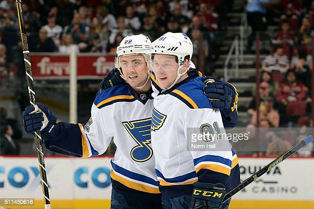 Vladimir Tarasenko of the St Louis Blues is congratulated by teammate Kevin Shattenkirk after his first period goal agaist the Arizona Coyotes at...