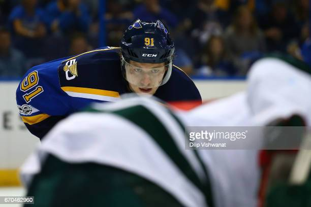 Vladimir Tarasenko of the St Louis Blues lines up for a faceoff against the Minnesota Wild in Game Four of the Western Conference First Round during...
