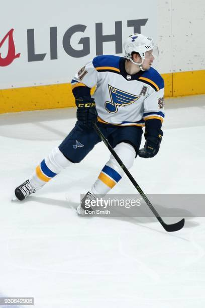 Vladimir Tarasenko of the St Louis Blues looks during a NHL game against the San Jose Sharks at SAP Center on March 8 2018 in San Jose California