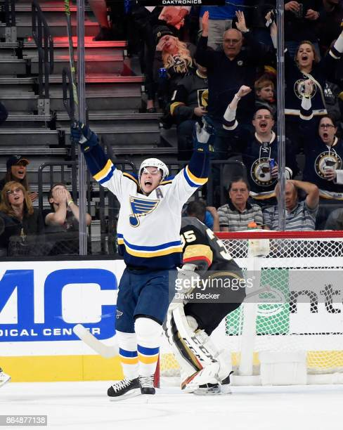 Vladimir Tarasenko of the St Louis Blues reacts after scoring a goal against goalie Oscar Dansk of the Vegas Golden Knights at TMobile Arena on...