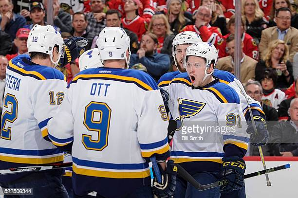 Vladimir Tarasenko of the St Louis Blues reacts after scoring against the Chicago Blackhawks in the first period of Game Four of the Western...