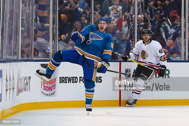 Vladimir Tarasenko of the St Louis Blues reacts after scoring against the Chicago Blackhawks in the third period during the 2017 Bridgestone NHL...