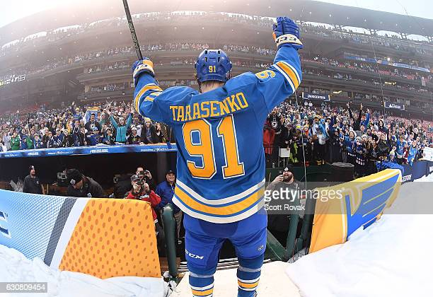 Vladimir Tarasenko of the St Louis Blues salutes fans after beating the Chicago Blackhawks 41 during the 2017 Bridgestone NHL Winter Classic at Busch...