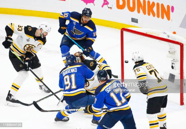 Vladimir Tarasenko of the St Louis Blues scores a first period goal past Tuukka Rask of the Boston Bruins at 1530 in Game Four of the 2019 NHL...