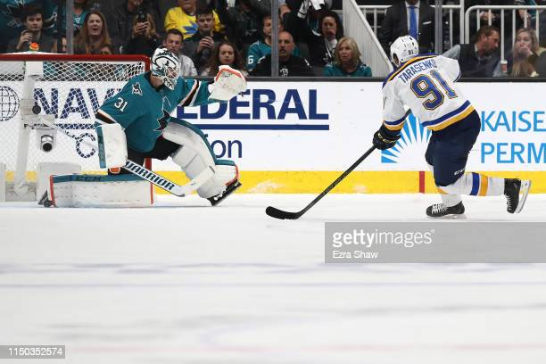 Vladimir Tarasenko of the St. Louis Blues scores a goal against Martin Jones of the San Jose Sharks in Game Five of the Western Conference Final...