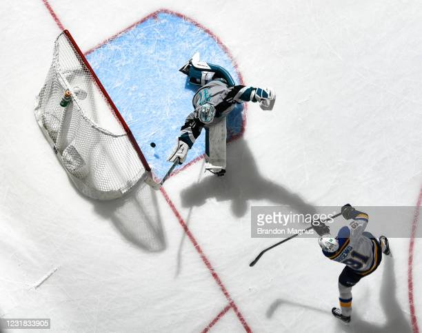 Vladimir Tarasenko of the St. Louis Blues scores a goal against Martin Jones of the San Jose Sharks at SAP Center on March 19, 2021 in San Jose,...