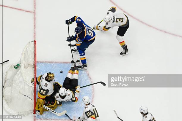 Vladimir Tarasenko of the St. Louis Blues scores a goal against the Vegas Golden Knights on March 12, 2021 at the Enterprise Center in St. Louis,...