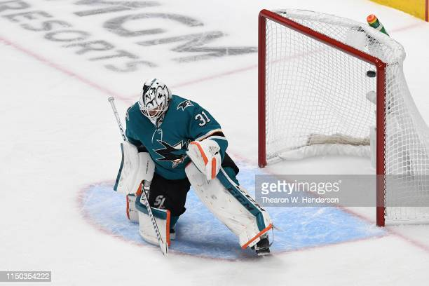 Vladimir Tarasenko of the St Louis Blues scores a goal on a penalty shot against Martin Jones of the San Jose Sharks in Game Five of the Western...