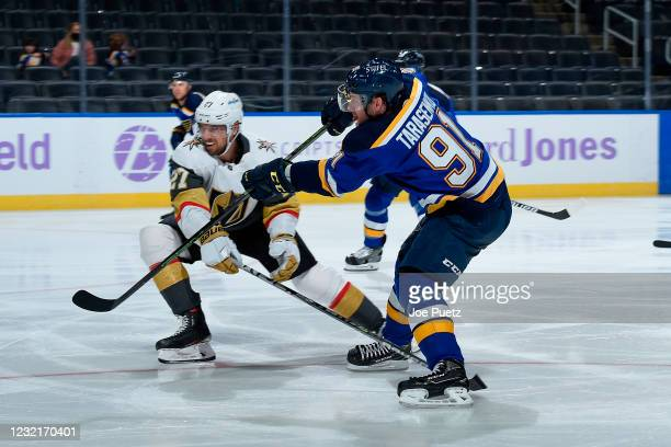 Vladimir Tarasenko of the St. Louis Blues shoots and scores a goal agains the Vegas Golden Knights on April 7, 2021 at the Enterprise Center in St....