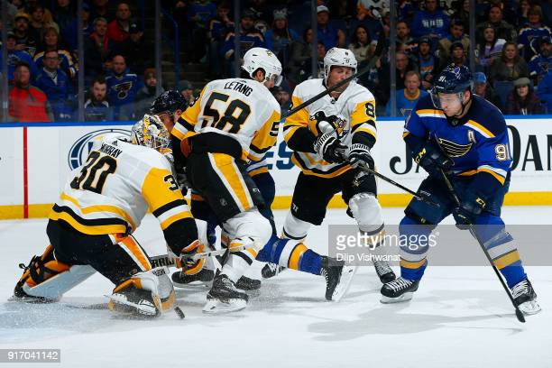 Vladimir Tarasenko of the St Louis Blues shoots the puck against Matt Murray of the Pittsburgh Penguins at Scottrade Center on February 11 2018 in St...