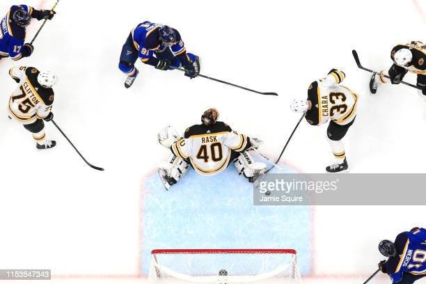 Vladimir Tarasenko of the St Louis Blues shoots the puck past Tuukka Rask of the Boston Bruins at 1530 for a first period goal in Game Four of the...