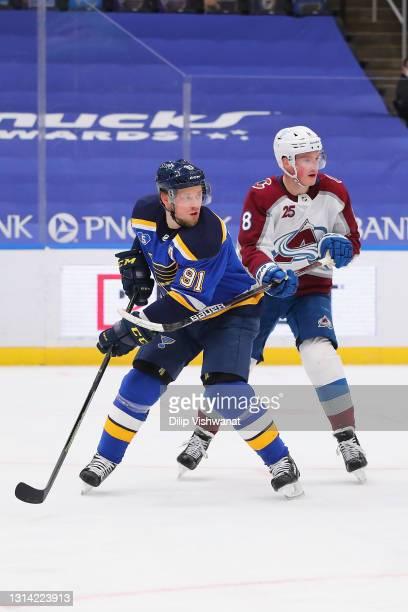 Vladimir Tarasenko of the St. Louis Blues skates against Cale Makar of the Colorado Avalanche at Enterprise Center on April 22, 2021 in St Louis,...