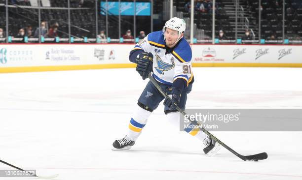 Vladimir Tarasenko of the St Louis Blues skates against the Colorado Avalanche at Ball Arena on April 2, 2021 in Denver, Colorado.