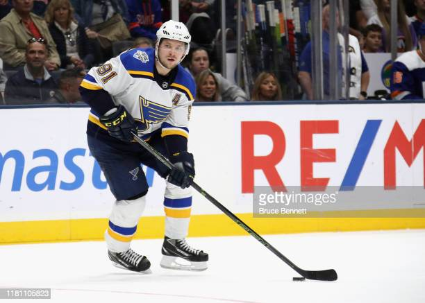 Vladimir Tarasenko of the St Louis Blues skates against the New York Islanders at NYCB Live's Nassau Coliseum on October 14 2019 in Uniondale New...