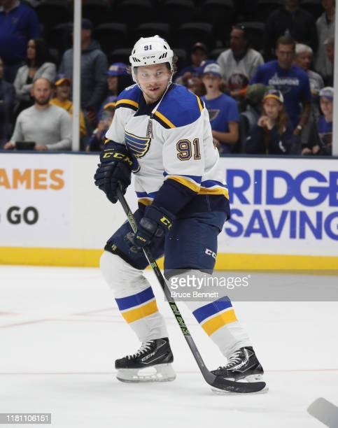 Vladimir Tarasenko of the St. Louis Blues skates against the New York Islanders at NYCB Live's Nassau Coliseum on October 14, 2019 in Uniondale, New...