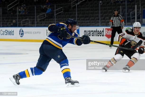 Vladimir Tarasenko of the St. Louis Blues takes a shot against the Anaheim Ducks on March 28, 2021 at the Enterprise Center in St. Louis, Missouri.