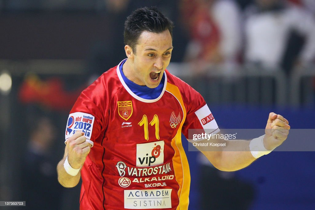 Vladimir Temelkov of Macedonia celebrates a goal during the Men's European Handball Championship group B match between Czech Republic and Macedonia at Cair Sports Centre on January 19, 2011 in Nis, Serbia.