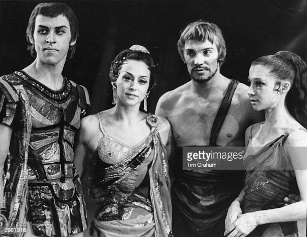 Vladimir Vasiliev, the Russian ballet dancer and member of the Bolshoi Ballet with fellow dancers in a break during rehearsals for 'Spartacus'. From...